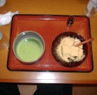 matcha green tea with dessert