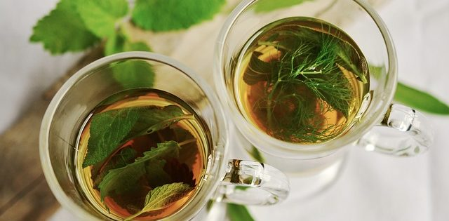 A healthy glass of peppermint tea